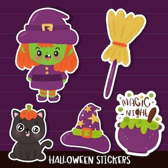 Halloween sticker witch cartoon kawaii illustration
