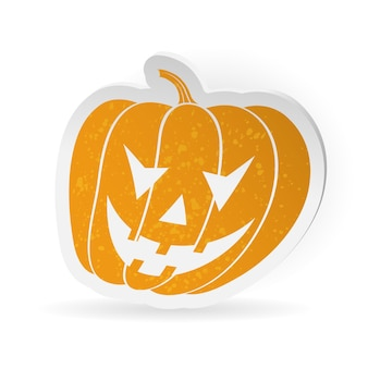Halloween sticker with pumpkin, isolated on white background, vector illustration