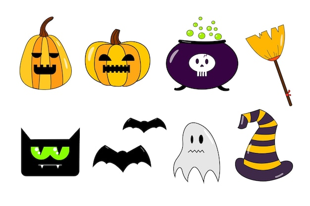 Halloween stickers collection with ghost pumpkin bat cat broomstick hat
