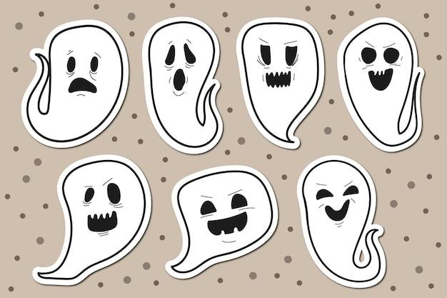 Коллекция наклеек на хэллоуин с привидениями