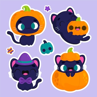 Halloween stickers cute cat and pumpkin