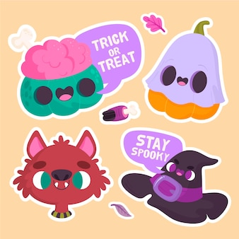 Halloween stickers with brain and hat