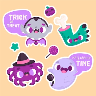 Halloween stickers with ghost and vampire