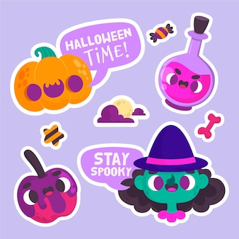 Halloween stickers with pumpkin and witch