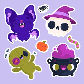 Halloween stickers with skull and bat