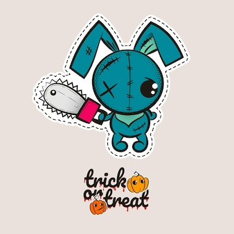 Halloween stitch bunny rabbit zombie voodoo doll evil bunny sewing monster trick or treat pumpkins