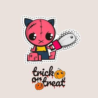 할로윈 스티치 좀비 키티 부두 인형 이블 고양이 바느질 몬스터 키티 trick or treat 호박