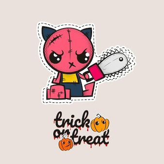 Halloween stitch zombie kitty voodoo doll evil cat sewing monster kitty trick or treat pumpkins
