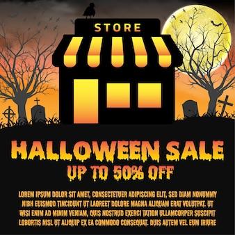 Halloween store shop open in night  graveyard