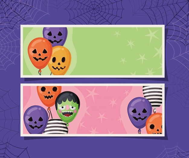 Halloween striped frankenstein and pumpkin balloons in frames with spiderwebs design, holiday and scary theme