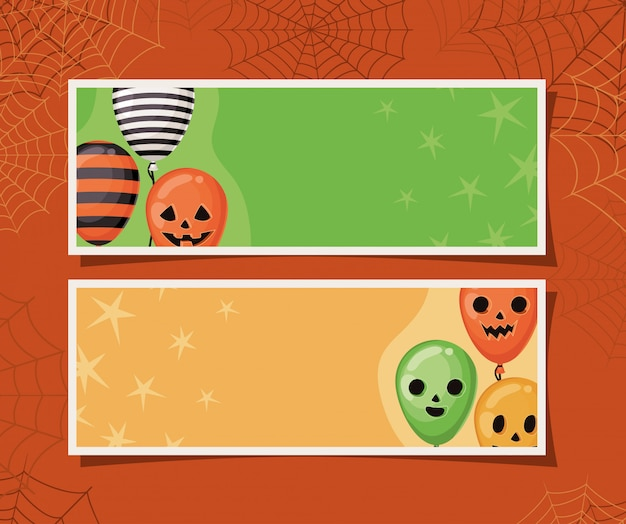 Halloween striped and pumpkin balloons in frames with spiderwebs design, holiday and scary theme
