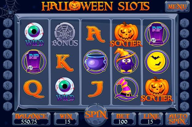 ハロウィーンスタイルのカジノスロットマシンゲーム。インターフェーススロットマシン、ボタン、アイコンを別々のレイヤーに完成させます。スロットゲームの背景。