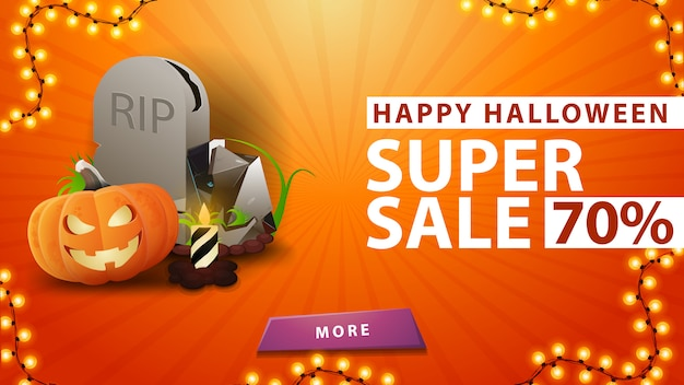 Halloween super sale, up to 70% off, orange banner with tombstone and pumpkin jack