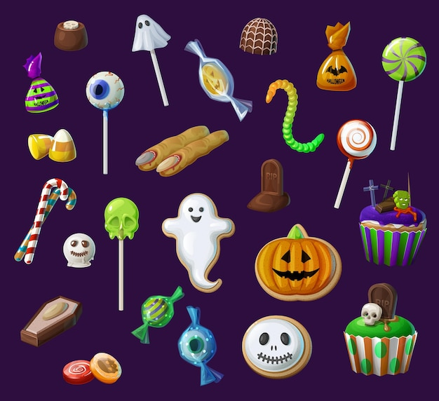 Halloween sweet lollypops, candies and cupcakes