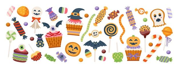 Сладкий набор хэллоуина. конфеты, леденец и леденец в страшной конфетной крышке из тыквы, призрака и глазного яблока, изолированных на белом фоне. векторная иллюстрация. подходит для праздничного дизайна