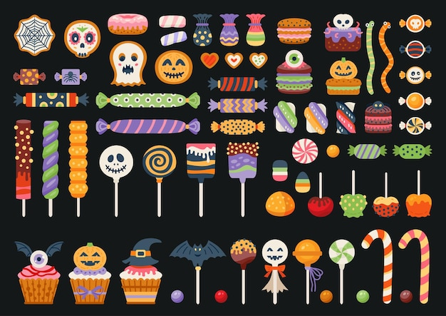 Halloween sweet set with candies, candy cane and lollipop