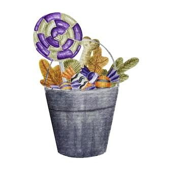 Halloween sweets in a bucket
