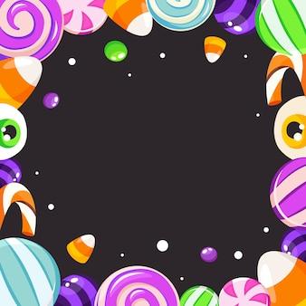 ハロウィーンのお菓子フレーム。ハロウィーンの背景。フラットスタイルのイラスト。