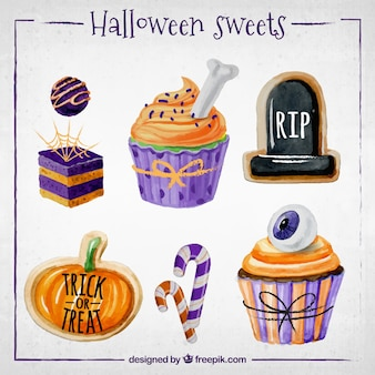 Halloween sweets painted with watercolors