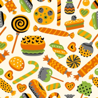 Halloween sweets seamless pattern with candies