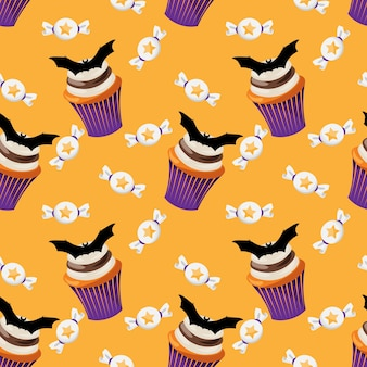 Halloween sweets seamless pattern.