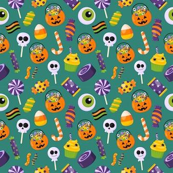 Хэллоуин сладости трюк или угощение бесшовный фон на зеленом фоне