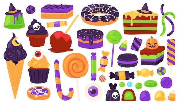 Сладости на хеллоуин. уловка или угощение конфетами и десертом с жутким декором, шляпой ведьмы, тыквой, паутиной. осенний детский праздник векторный набор. иллюстрация хэллоуин конфеты и жуткие сладости