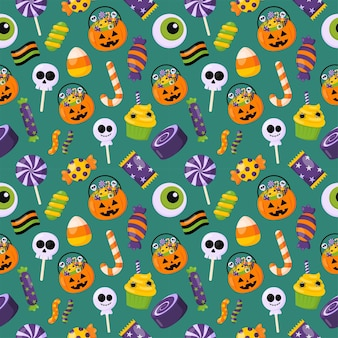 Halloween sweets trick or treat seamless pattern on green background