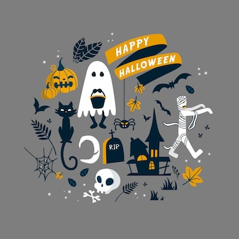 Halloween symbols collection in flat design style