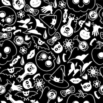 ハロウィーンのシンボルのシームレスなパターン