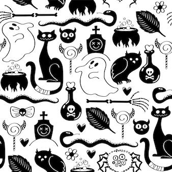 Halloween symbols seamless pattern