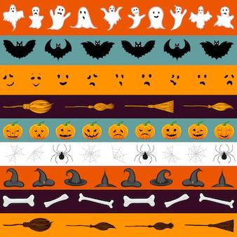 Halloween tape set. cartoon style. vector illustration.