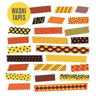 ハロウィーンテープストリップ。オレンジと黒のハロウィーンパターン。スクラップブック要素