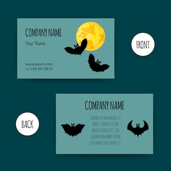 Шаблон на хэллоуин для вашей визитной карточки. мультяшный стиль.