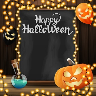 Halloween template for your arts with chalkboard with beautiful lettering, pumpkin jack and halloween balloons