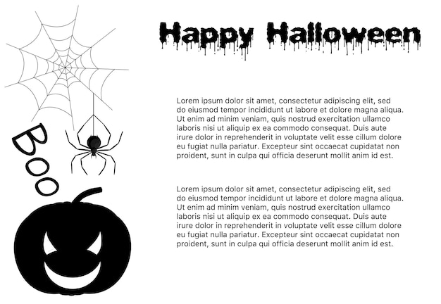 Halloween template for your text with traditional attributes. cartoon style. vector illustration.