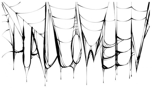 ハロウィーンのテキストと黒い怖い引き裂かれたウェブ