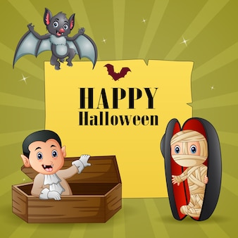 Halloween text design with mummy and vampire