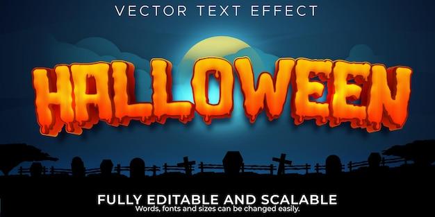 Текстовый эффект хэллоуина, редактируемая тыква и страшный стиль текста