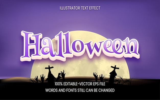 Halloween text effect with moon background Premium Vector
