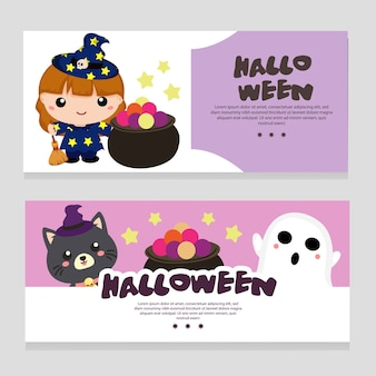 Halloween theme banner with lovable character