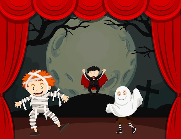 Halloween theme with children in costume