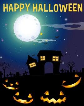 Тема хэллоуина с домом с привидениями и лицами