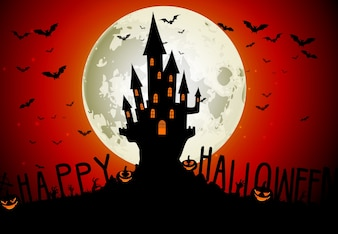 Halloween theme with scary house on full moon background