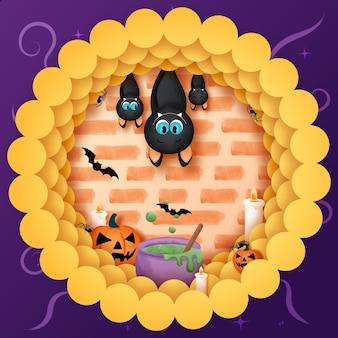 ハロウィーンをテーマにしたコウモリのイラスト