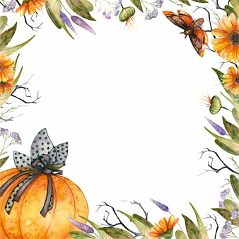 Halloween themed floral frame