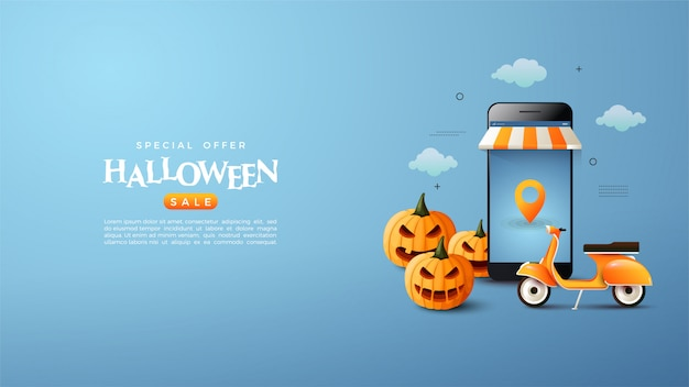 Halloween-themed online shopping banner.