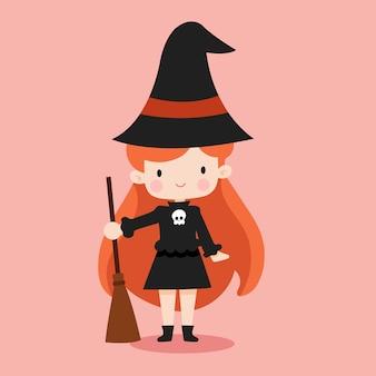 ハロウィーンをテーマにした魔女イラスト