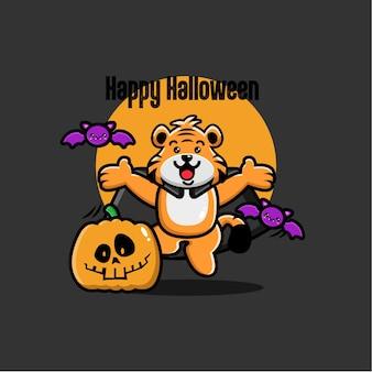 Halloween tiger background in flat design