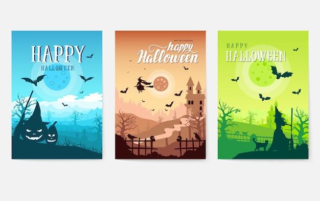 Граница концепции фона времени хэллоуина. пейзажный шаблон флаера, журналов, плакатов, обложек книг, баннеров.